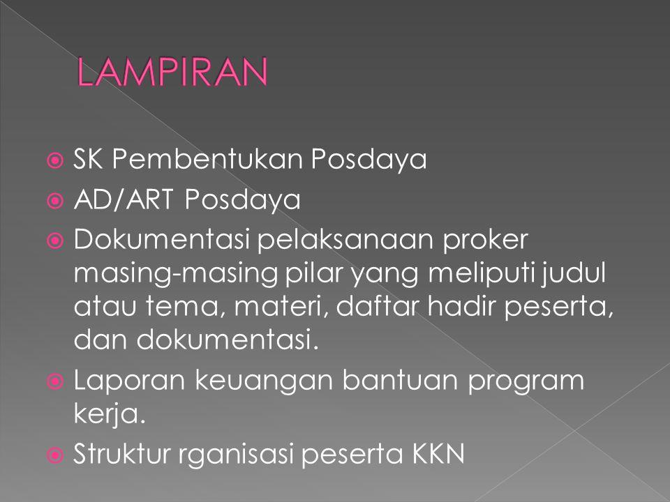  SK Pembentukan Posdaya  AD/ART Posdaya  Dokumentasi pelaksanaan proker masing-masing pilar yang meliputi judul atau tema, materi, daftar hadir pes