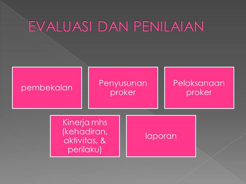 pembekalan Penyusunan proker Pelaksanaan proker Kinerja mhs (kehadiran, aktivitas, & perilaku) laporan
