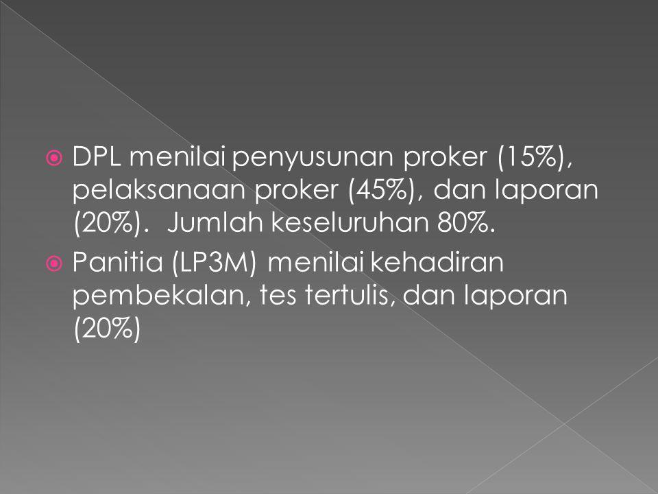  DPL menilai penyusunan proker (15%), pelaksanaan proker (45%), dan laporan (20%). Jumlah keseluruhan 80%.  Panitia (LP3M) menilai kehadiran pembeka