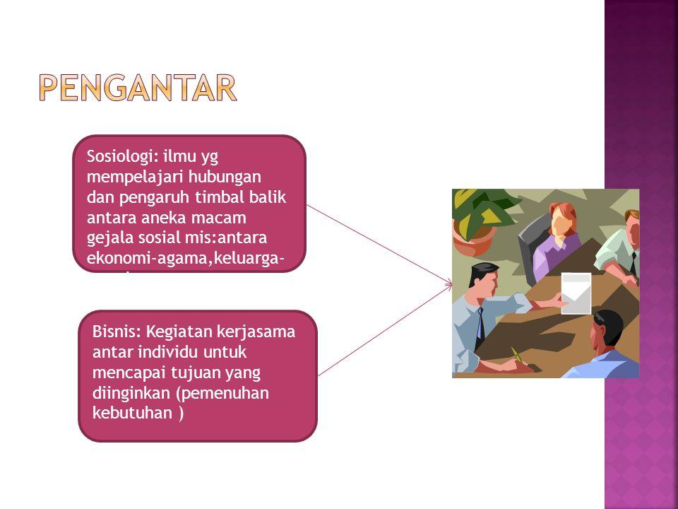 Sosiologi: ilmu yg mempelajari hubungan dan pengaruh timbal balik antara aneka macam gejala sosial mis:antara ekonomi-agama,keluarga- moral Bisnis: Ke