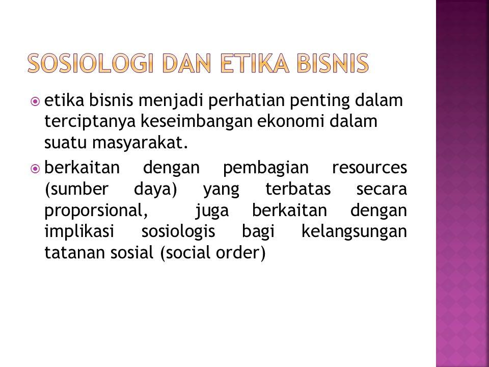  etika bisnis menjadi perhatian penting dalam terciptanya keseimbangan ekonomi dalam suatu masyarakat.  berkaitan dengan pembagian resources (sumber