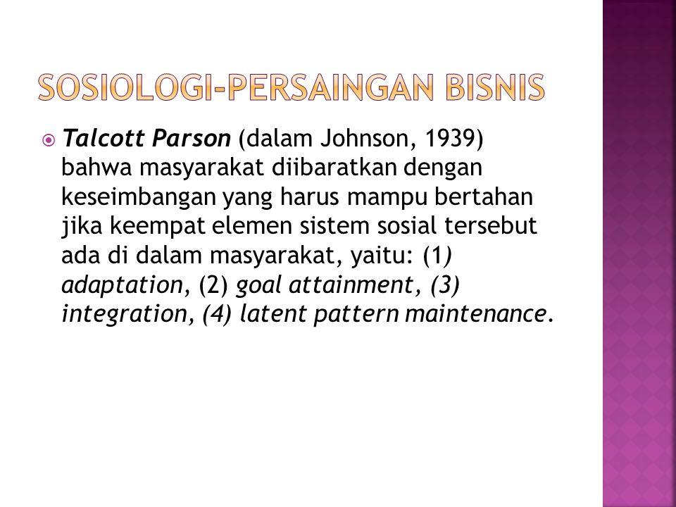  Talcott Parson (dalam Johnson, 1939) bahwa masyarakat diibaratkan dengan keseimbangan yang harus mampu bertahan jika keempat elemen sistem sosial te