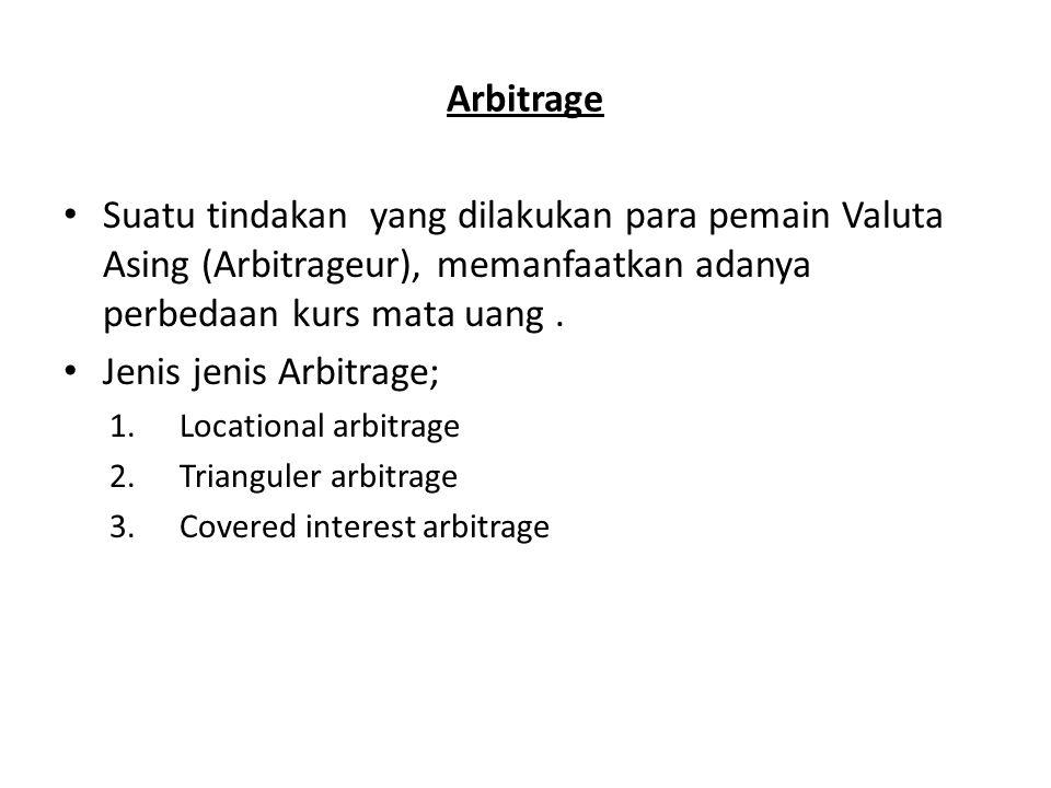 Arbitrage Suatu tindakan yang dilakukan para pemain Valuta Asing (Arbitrageur), memanfaatkan adanya perbedaan kurs mata uang. Jenis jenis Arbitrage; 1