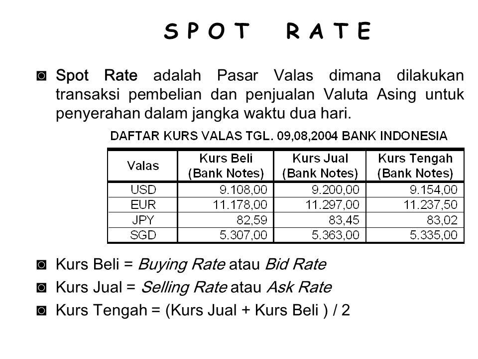 ◙Spot Rate adalah Pasar Valas dimana dilakukan transaksi pembelian dan penjualan Valuta Asing untuk penyerahan dalam jangka waktu dua hari. ◙Kurs Beli