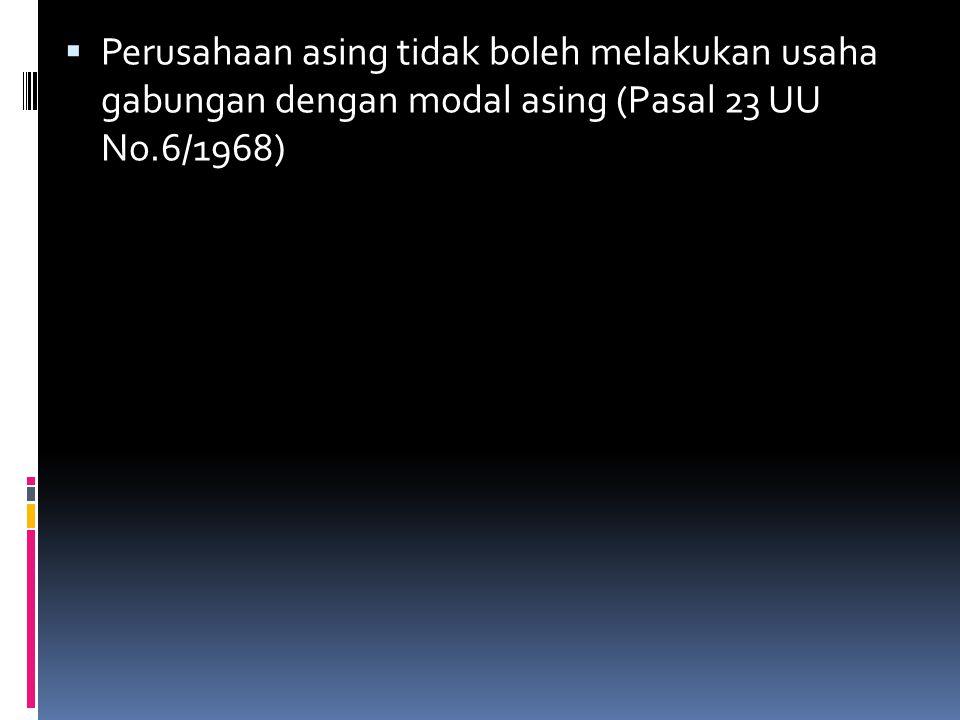 Revisi Undang-Undang Penanaman Modal Asing  Pasal 15 UU No.
