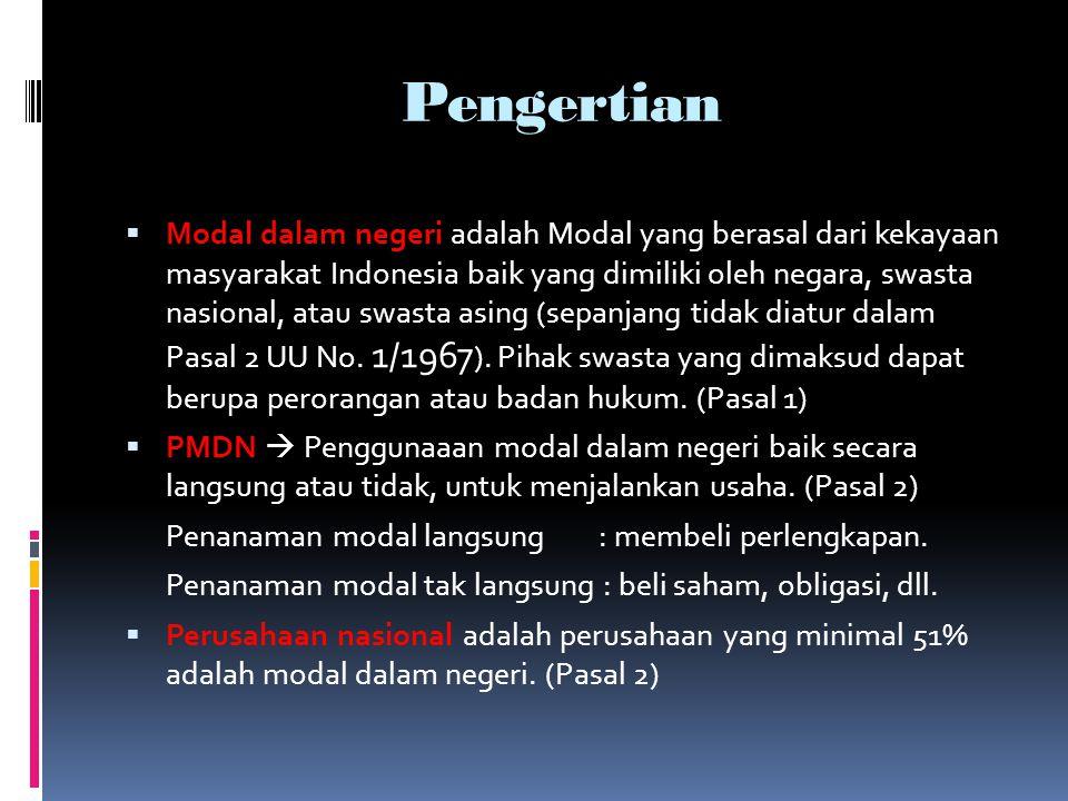 Pengertian  Modal dalam negeri adalah Modal yang berasal dari kekayaan masyarakat Indonesia baik yang dimiliki oleh negara, swasta nasional, atau swa