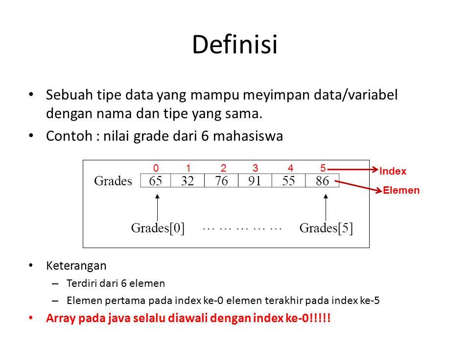 Definisi Sebuah tipe data yang mampu meyimpan data/variabel dengan nama dan tipe yang sama. Contoh : nilai grade dari 6 mahasiswa Keterangan – Terdiri