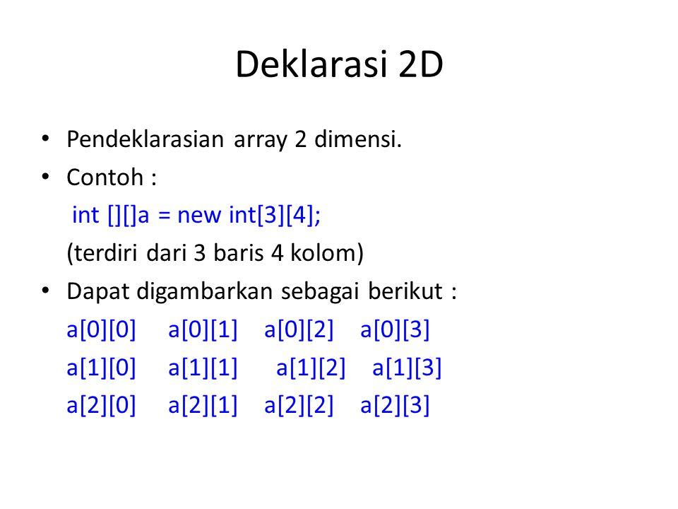 Deklarasi 2D Pendeklarasian array 2 dimensi. Contoh : int [][]a = new int[3][4]; (terdiri dari 3 baris 4 kolom) Dapat digambarkan sebagai berikut : a[