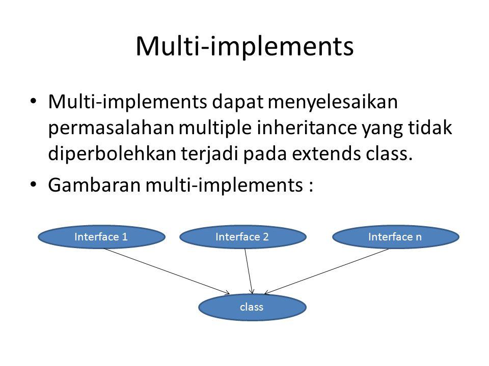 Multi-implements Multi-implements dapat menyelesaikan permasalahan multiple inheritance yang tidak diperbolehkan terjadi pada extends class. Gambaran
