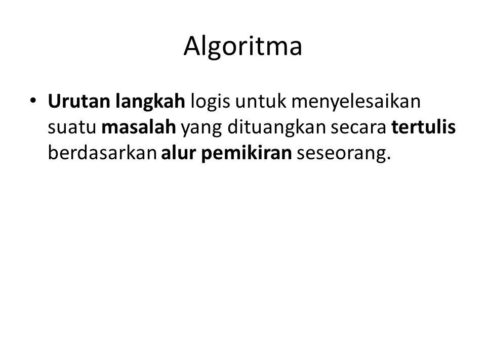 Algoritma Urutan langkah logis untuk menyelesaikan suatu masalah yang dituangkan secara tertulis berdasarkan alur pemikiran seseorang.