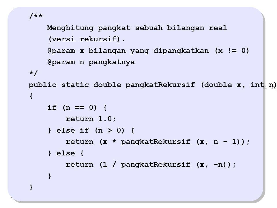 /** Menghitung pangkat sebuah bilangan real (versi rekursif). @param x bilangan yang dipangkatkan (x != 0) @param n pangkatnya */ public static doubl