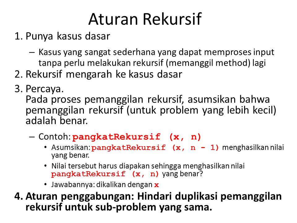Aturan Rekursif 1.Punya kasus dasar – Kasus yang sangat sederhana yang dapat memproses input tanpa perlu melakukan rekursif (memanggil method) lagi 2.Rekursif mengarah ke kasus dasar 3.Percaya.