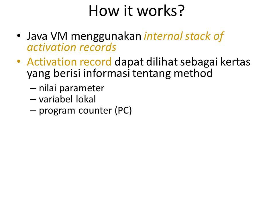 How it works? Java VM menggunakan internal stack of activation records Activation record dapat dilihat sebagai kertas yang berisi informasi tentang me