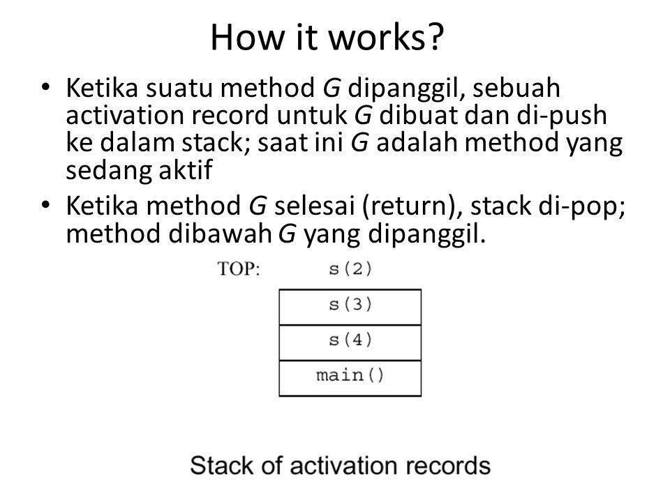 How it works? Ketika suatu method G dipanggil, sebuah activation record untuk G dibuat dan di-push ke dalam stack; saat ini G adalah method yang sedan