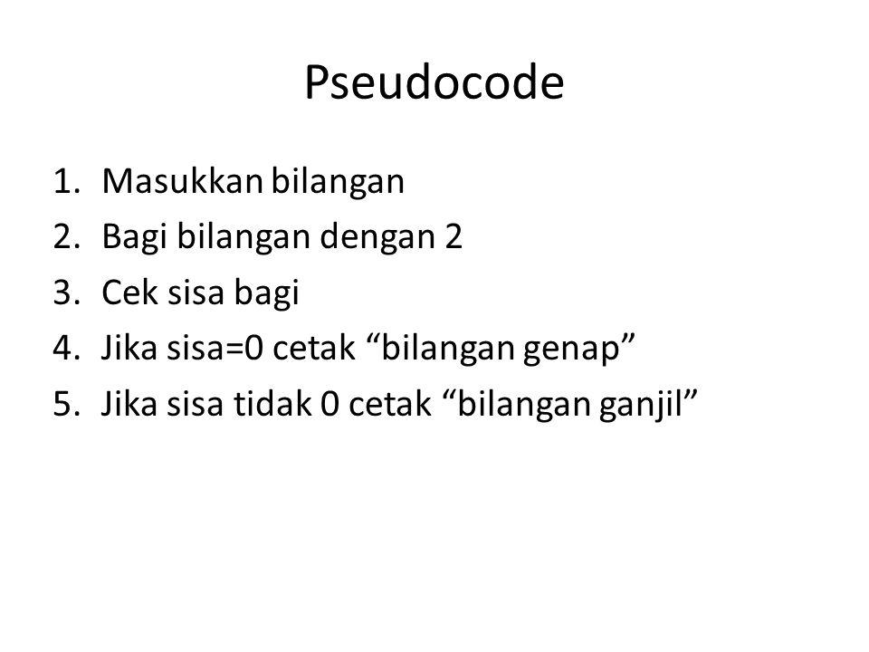 Pseudocode 1.Masukkan bilangan 2.Bagi bilangan dengan 2 3.Cek sisa bagi 4.Jika sisa=0 cetak bilangan genap 5.Jika sisa tidak 0 cetak bilangan ganjil