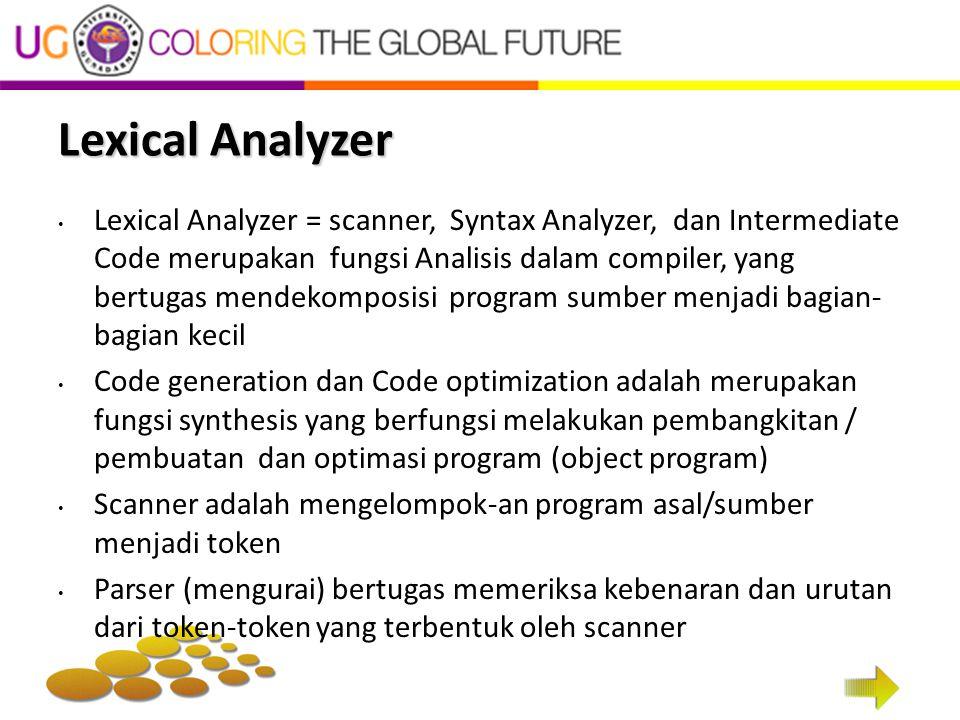 Lexical Analyzer Lexical Analyzer = scanner, Syntax Analyzer, dan Intermediate Code merupakan fungsi Analisis dalam compiler, yang bertugas mendekompo