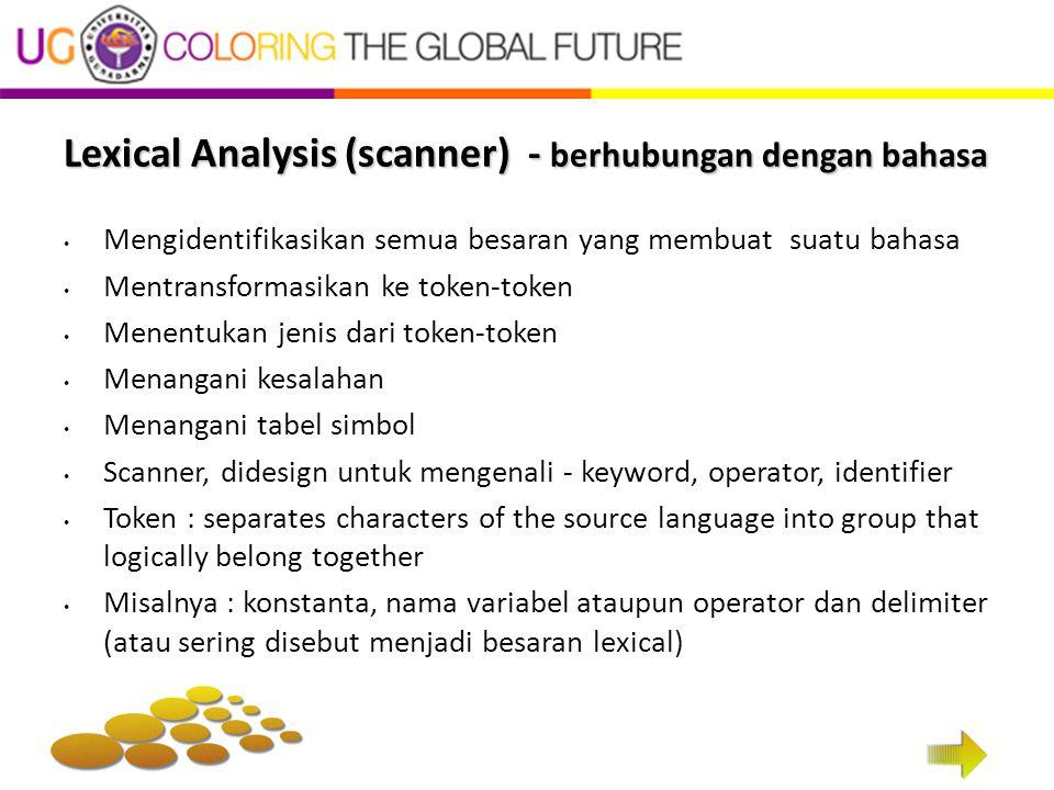 Lexical Analysis (scanner) - berhubungan dengan bahasa Mengidentifikasikan semua besaran yang membuat suatu bahasa Mentransformasikan ke token-token M
