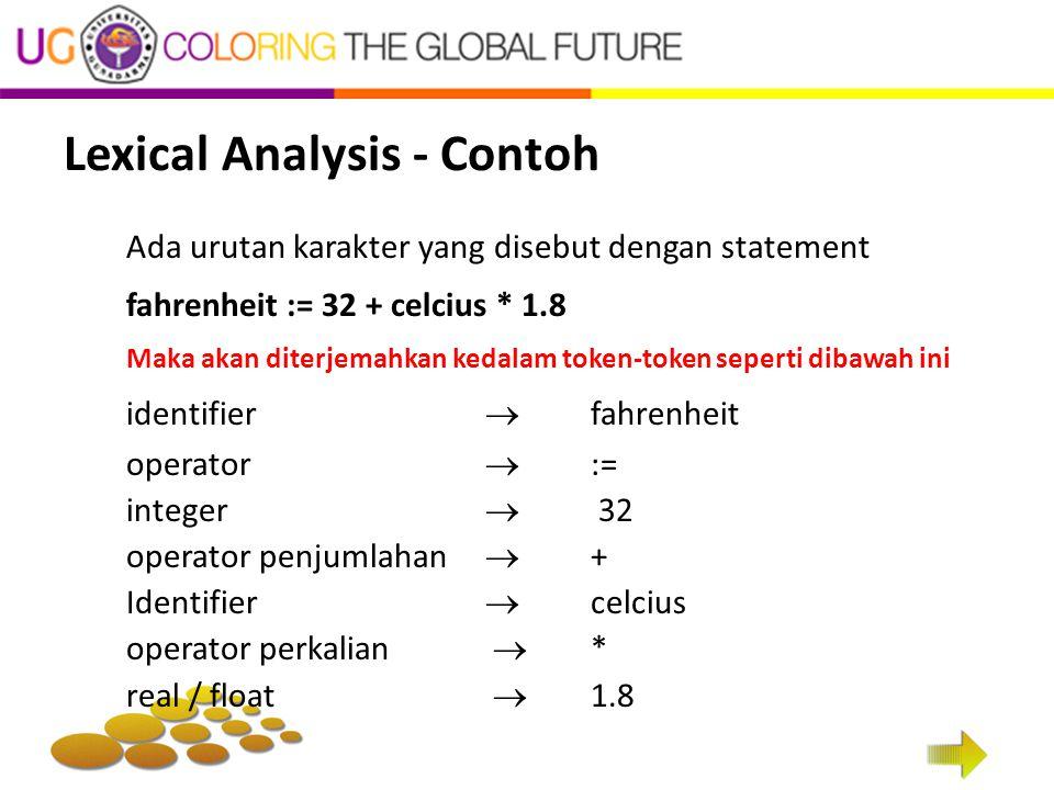 Lexical Analysis - Contoh Ada urutan karakter yang disebut dengan statement fahrenheit := 32 + celcius * 1.8 Maka akan diterjemahkan kedalam token-tok