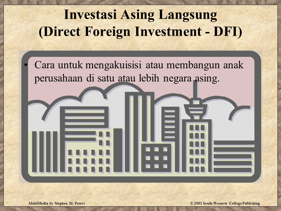 MultiMedia by Stephen M. Peters© 2001 South-Western College Publishing Investasi Asing Langsung (Direct Foreign Investment - DFI) Cara untuk mengakuis
