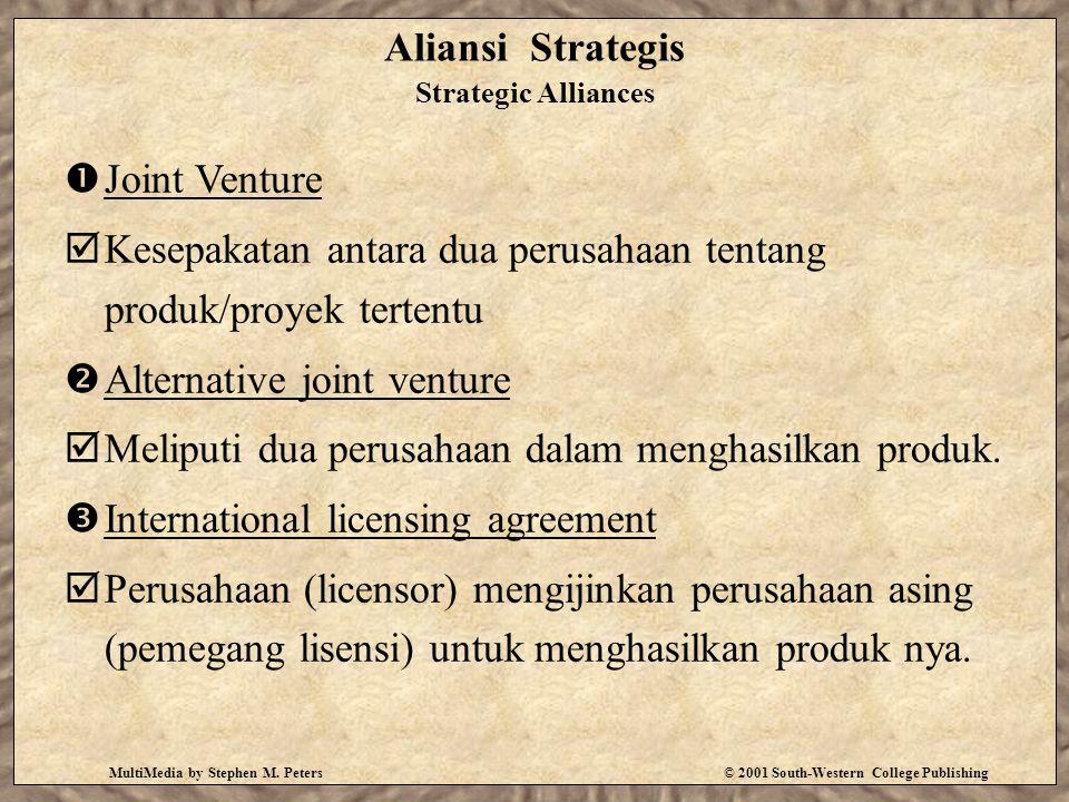 MultiMedia by Stephen M. Peters© 2001 South-Western College Publishing Aliansi Strategis Strategic Alliances  Joint Venture  Kesepakatan antara dua