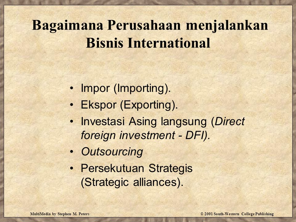 MultiMedia by Stephen M. Peters© 2001 South-Western College Publishing Bagaimana Perusahaan menjalankan Bisnis International Impor (Importing). Ekspor