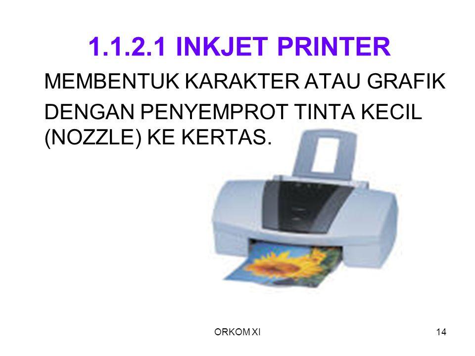 ORKOM XI14 1.1.2.1 INKJET PRINTER MEMBENTUK KARAKTER ATAU GRAFIK DENGAN PENYEMPROT TINTA KECIL (NOZZLE) KE KERTAS.