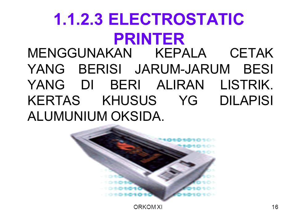 ORKOM XI16 1.1.2.3 ELECTROSTATIC PRINTER MENGGUNAKAN KEPALA CETAK YANG BERISI JARUM-JARUM BESI YANG DI BERI ALIRAN LISTRIK. KERTAS KHUSUS YG DILAPISI