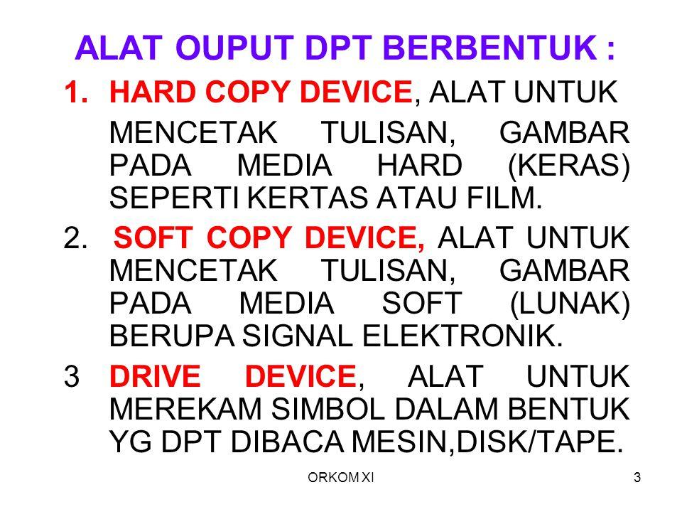 ORKOM XI4 HARDCOPY DEVICE YANG TERMASUK HARD COPY DEVICE : 1.PRINTER 2.PLOTTER 3.COMPUTER OUTPUT TO MICROFILM