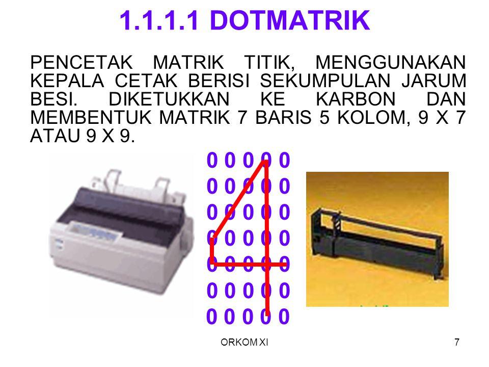 ORKOM XI7 1.1.1.1 DOTMATRIK PENCETAK MATRIK TITIK, MENGGUNAKAN KEPALA CETAK BERISI SEKUMPULAN JARUM BESI. DIKETUKKAN KE KARBON DAN MEMBENTUK MATRIK 7