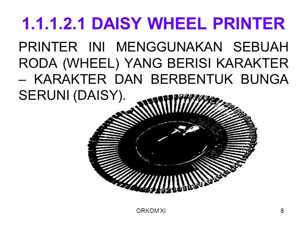 ORKOM XI8 1.1.1.2.1 DAISY WHEEL PRINTER PRINTER INI MENGGUNAKAN SEBUAH RODA (WHEEL) YANG BERISI KARAKTER – KARAKTER DAN BERBENTUK BUNGA SERUNI (DAISY)