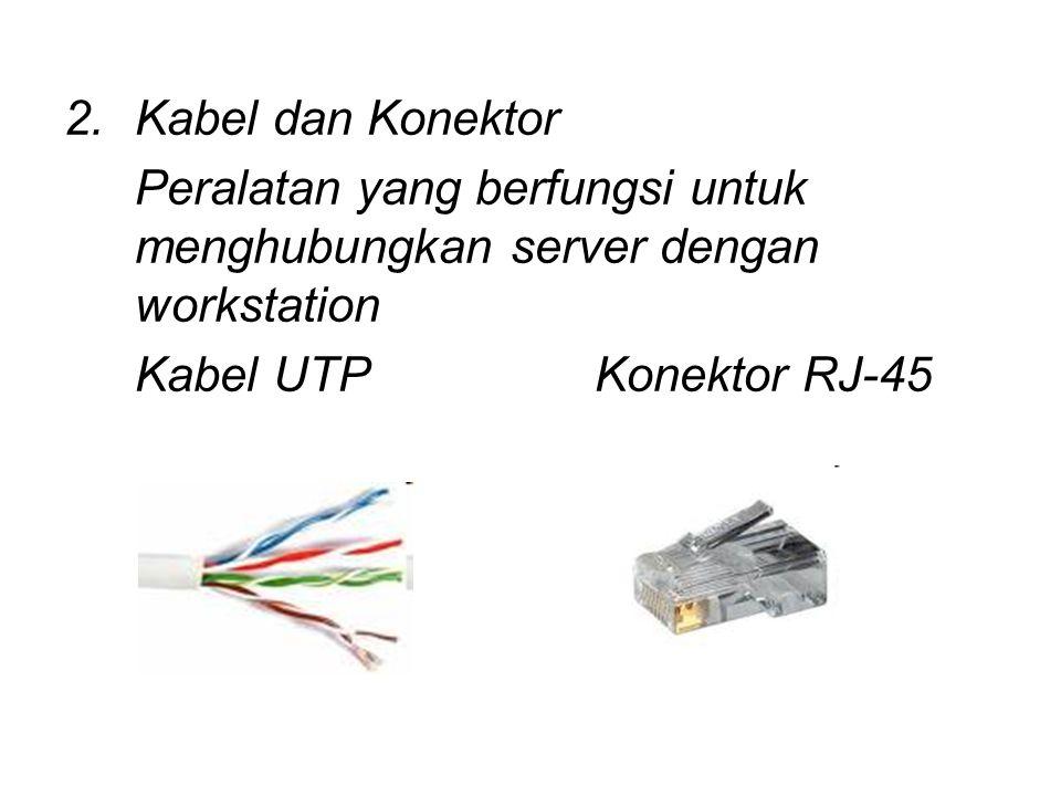 2.Kabel dan Konektor Peralatan yang berfungsi untuk menghubungkan server dengan workstation Kabel UTPKonektor RJ-45