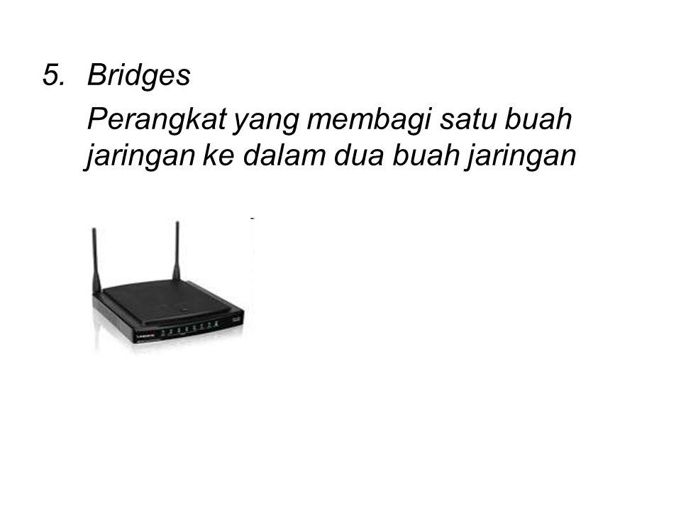 5.Bridges Perangkat yang membagi satu buah jaringan ke dalam dua buah jaringan