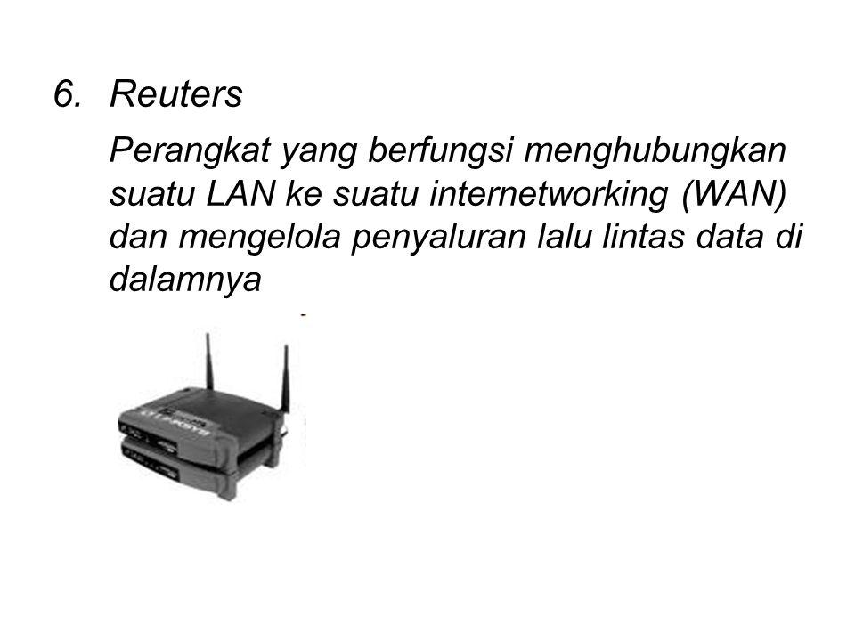 6.Reuters Perangkat yang berfungsi menghubungkan suatu LAN ke suatu internetworking (WAN) dan mengelola penyaluran lalu lintas data di dalamnya