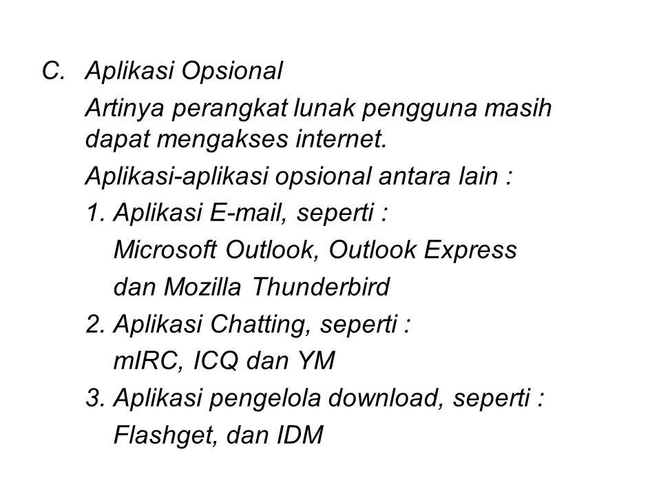 C.Aplikasi Opsional Artinya perangkat lunak pengguna masih dapat mengakses internet. Aplikasi-aplikasi opsional antara lain : 1. Aplikasi E-mail, sepe