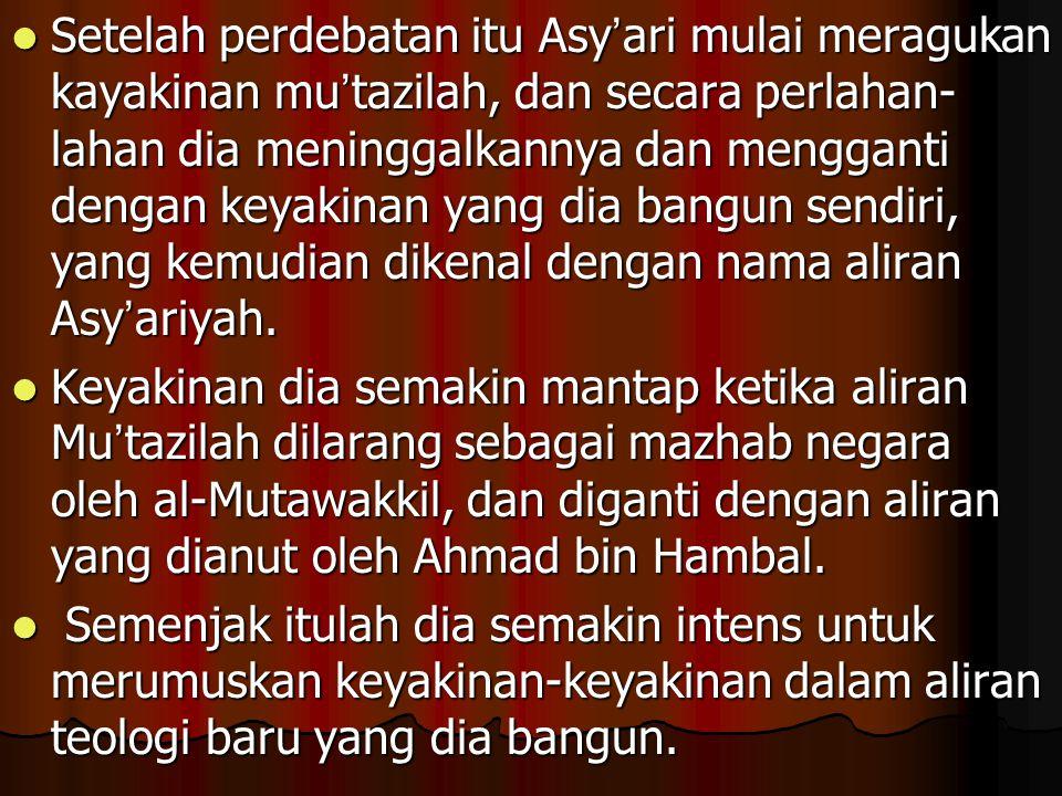 KONSEP AKIDAHNYA Secara umum, konsep akidahnya lebih merupakan sebuah antitesa dari akidah Mu ' tazilah, terutama berkaitan dengan sifat Tuhan, hal melihat Tuhan, al-Qur ' an qadim, perbuatan manusia, keadilan Tuhan, manzilah baina manzilatain.