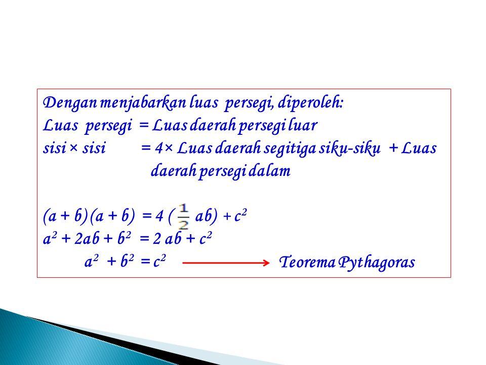 Luas daerah persegi luar = = 4 × Luas daerah segitiga siku- siku + luas daerah persegi dalam a a a a b b b b c 4 × +
