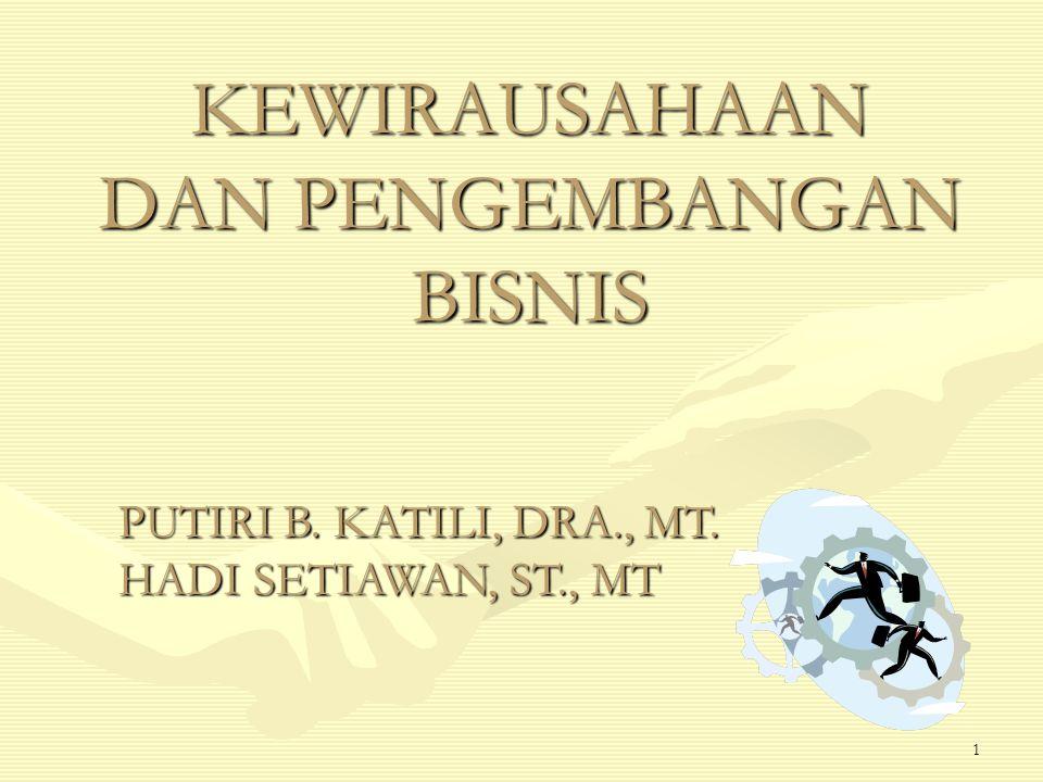 1 KEWIRAUSAHAAN DAN PENGEMBANGAN BISNIS PUTIRI B. KATILI, DRA., MT. HADI SETIAWAN, ST., MT