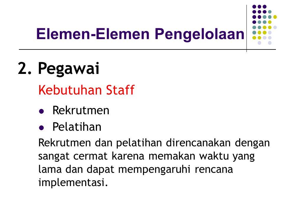 Elemen-Elemen Pengelolaan 2. Pegawai Kebutuhan Staff Rekrutmen Pelatihan Rekrutmen dan pelatihan direncanakan dengan sangat cermat karena memakan wakt