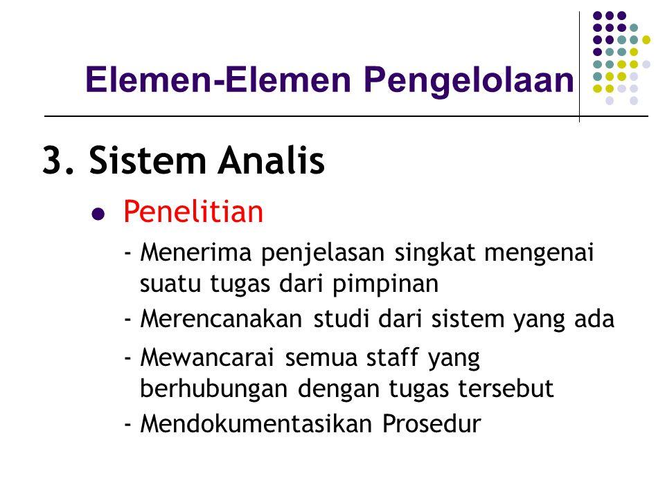 Elemen-Elemen Pengelolaan 3. Sistem Analis Penelitian - Menerima penjelasan singkat mengenai suatu tugas dari pimpinan - Merencanakan studi dari siste