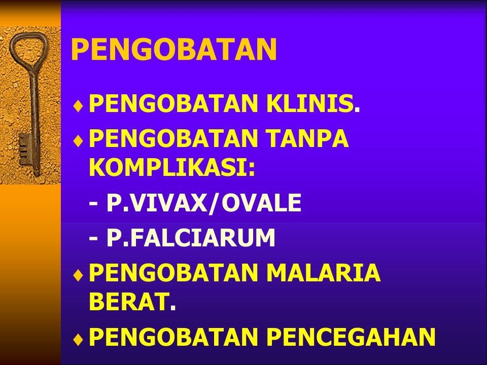 PENGOBATAN  PENGOBATAN KLINIS.  PENGOBATAN TANPA KOMPLIKASI: - P.VIVAX/OVALE - P.FALCIARUM  PENGOBATAN MALARIA BERAT.  PENGOBATAN PENCEGAHAN