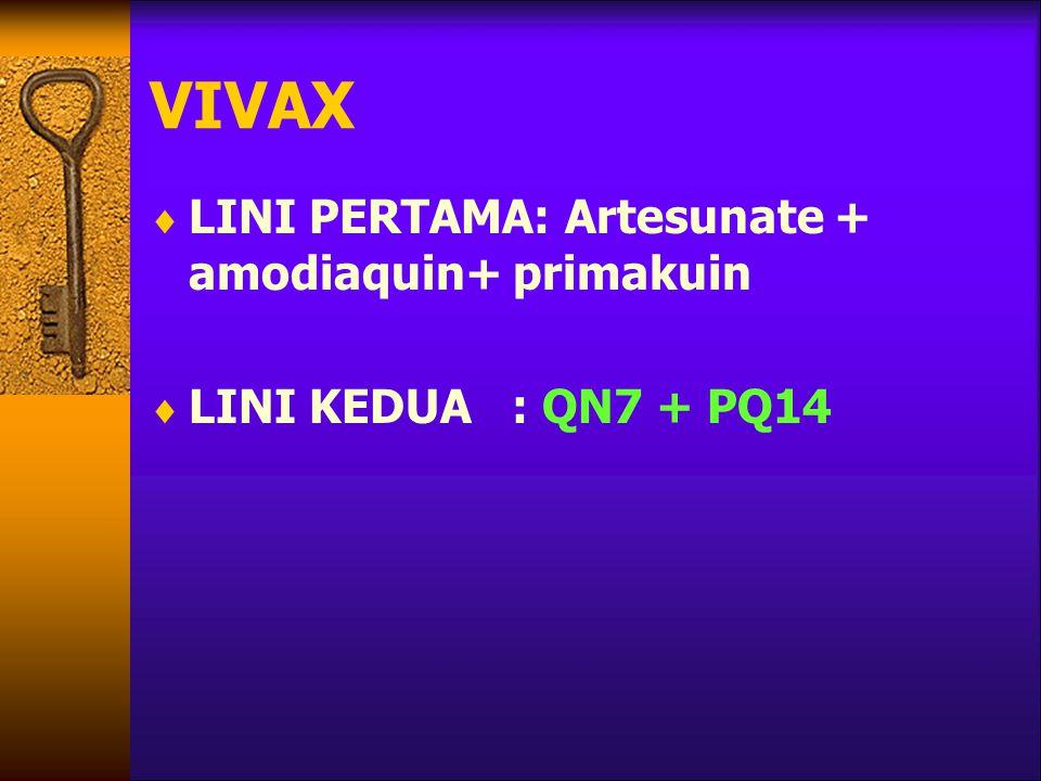 VIVAX  LINI PERTAMA: Artesunate + amodiaquin+ primakuin  LINI KEDUA : QN7 + PQ14