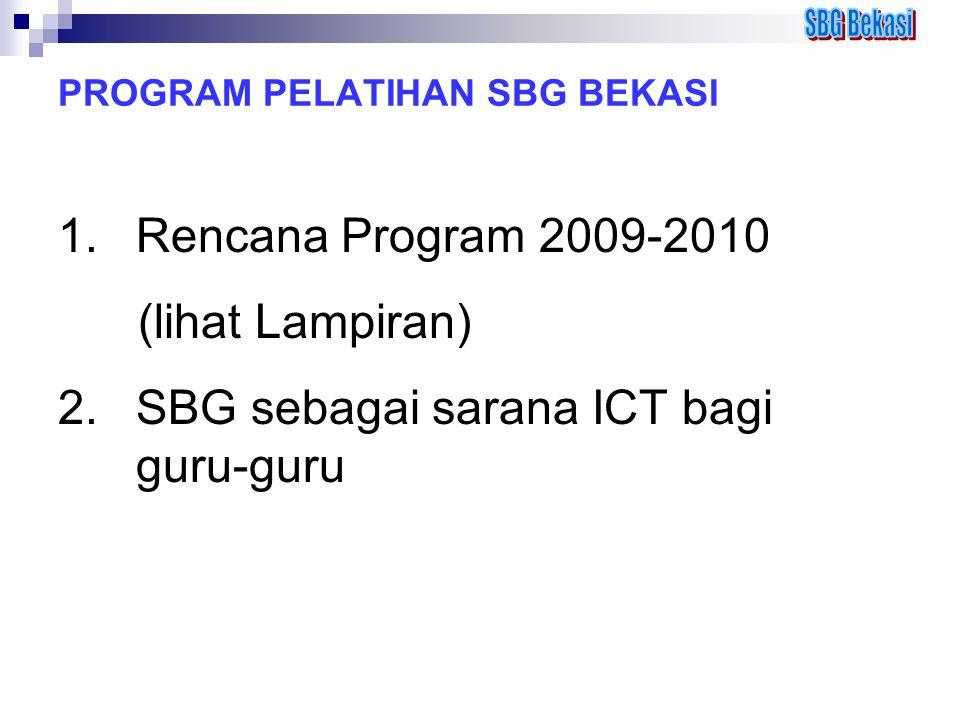 PROGRAM PELATIHAN SBG BEKASI 1.Rencana Program 2009-2010 (lihat Lampiran) 2.SBG sebagai sarana ICT bagi guru-guru