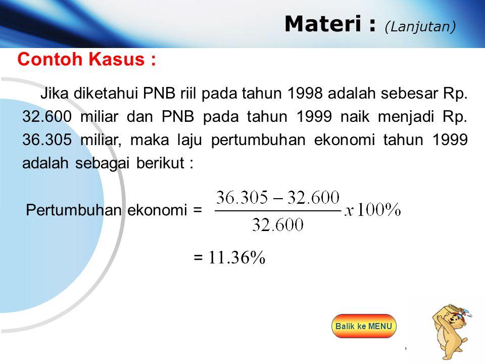 www.themegallery.com Company Logo Materi : (Lanjutan) Contoh Kasus : Jika diketahui PNB riil pada tahun 1998 adalah sebesar Rp. 32.600 miliar dan PNB
