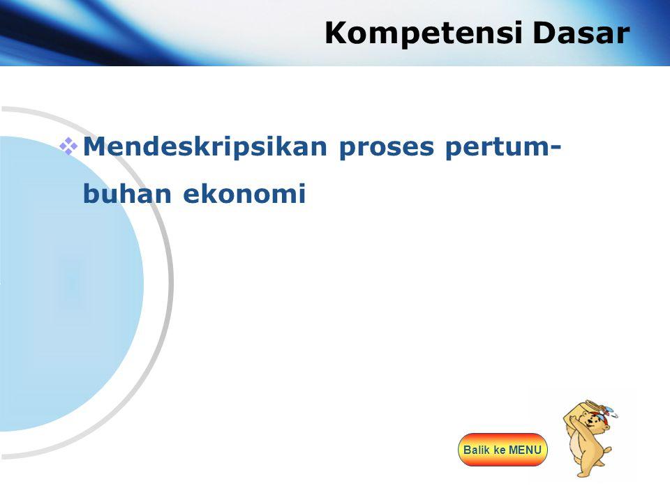 www.themegallery.com Company Logo Kompetensi Dasar  Mendeskripsikan proses pertum- buhan ekonomi Balik ke MENU