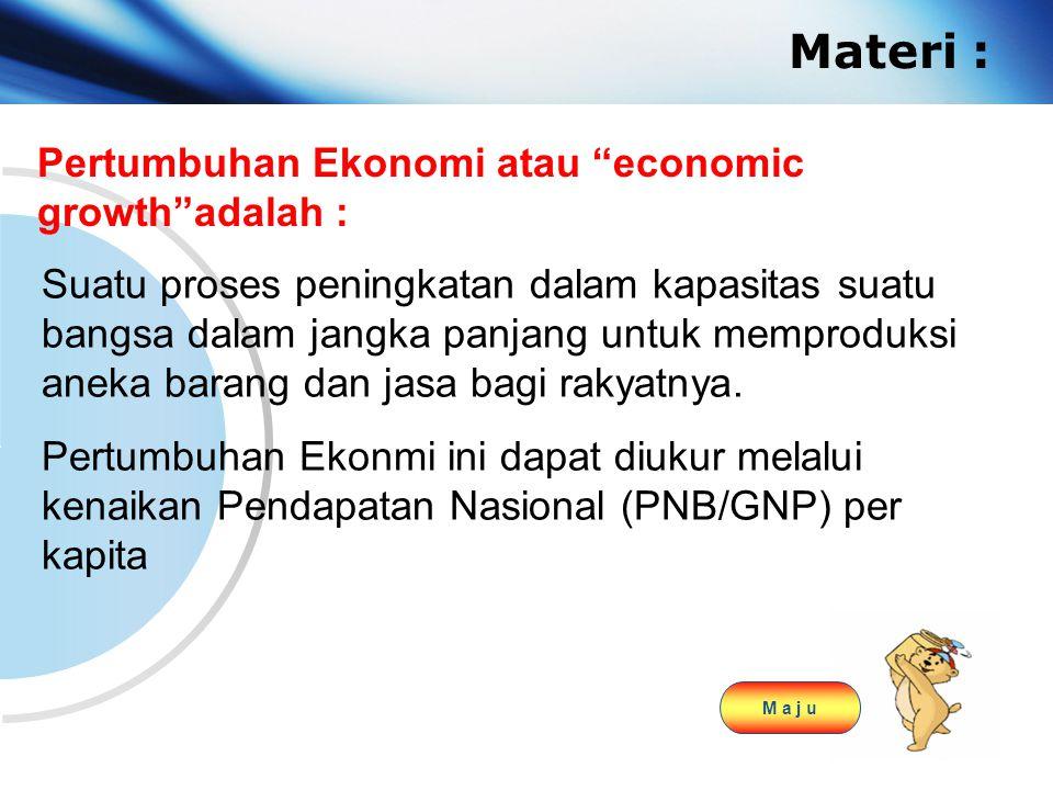 "www.themegallery.com Company Logo Materi : Pertumbuhan Ekonomi atau ""economic growth""adalah : Suatu proses peningkatan dalam kapasitas suatu bangsa da"