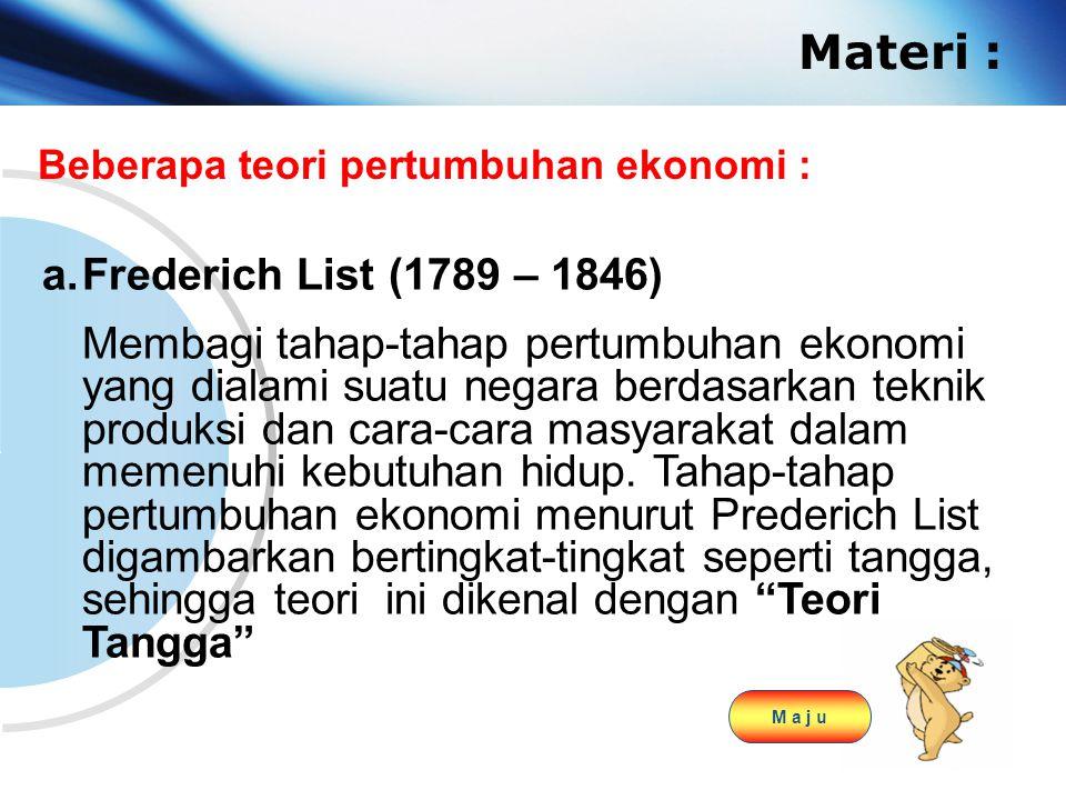 www.themegallery.com Company Logo Materi : Beberapa teori pertumbuhan ekonomi : a.Frederich List (1789 – 1846) Membagi tahap-tahap pertumbuhan ekonomi