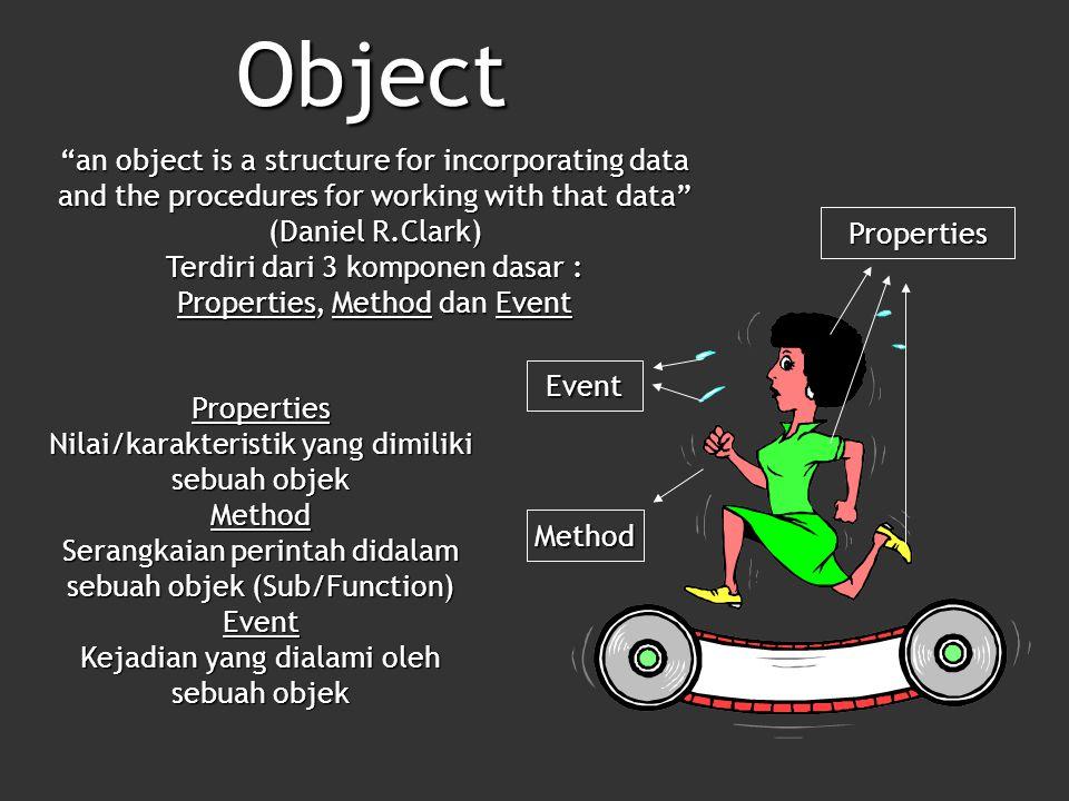 Method Event Properties Object an object is a structure for incorporating data and the procedures for working with that data (Daniel R.Clark) Terdiri dari 3 komponen dasar : Properties, Method dan Event Properties Nilai/karakteristik yang dimiliki sebuah objek Method Serangkaian perintah didalam sebuah objek (Sub/Function) Event Kejadian yang dialami oleh sebuah objek