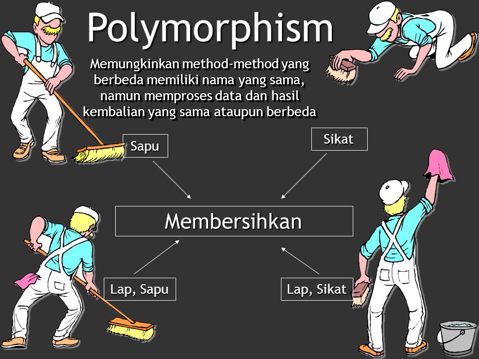 Membersihkan Sikat Sapu Lap, Sapu Lap, Sikat Memungkinkan method-method yang berbeda memiliki nama yang sama, namun memproses data dan hasil kembalian yang sama ataupun berbeda Polymorphism