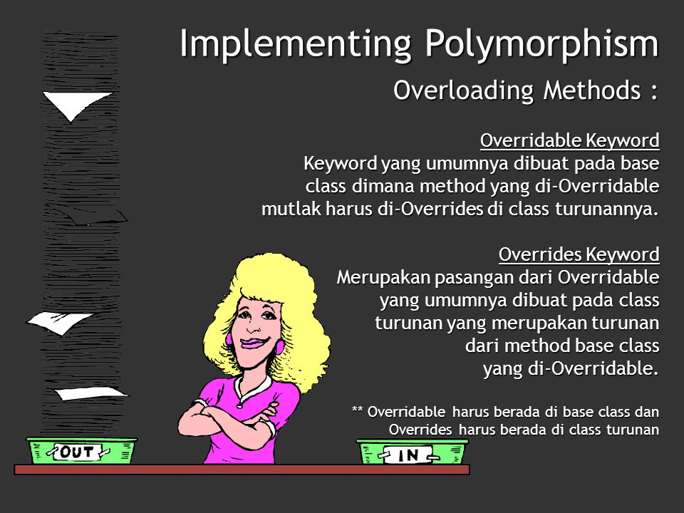 Implementing Polymorphism Overloading Methods : Overridable Keyword Keyword yang umumnya dibuat pada base class dimana method yang di-Overridable mutl