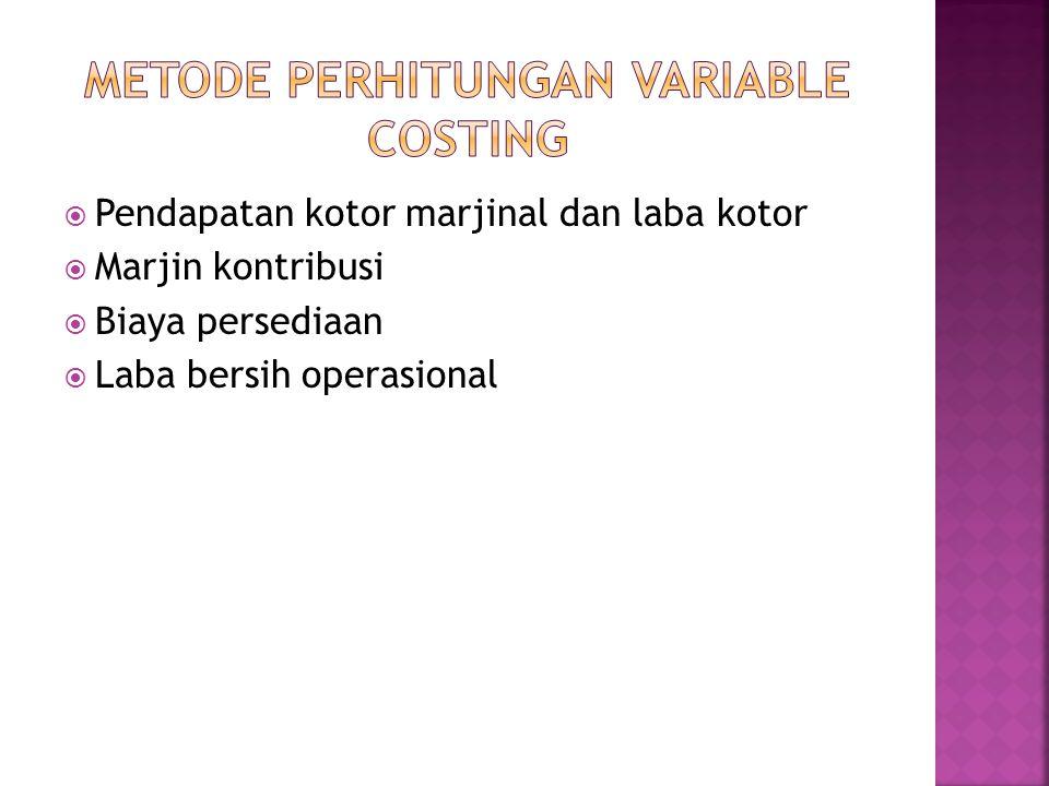  Pendapatan kotor marjinal dan laba kotor  Marjin kontribusi  Biaya persediaan  Laba bersih operasional